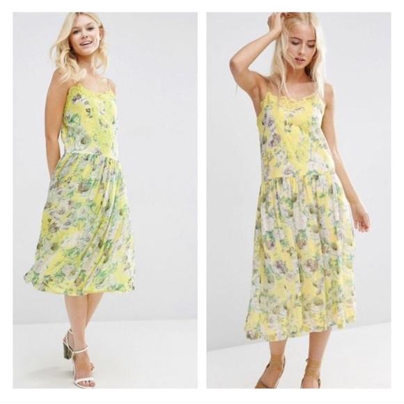 65ade1948d0 Yellow floral print lace midi dress. NWT. ASOS
